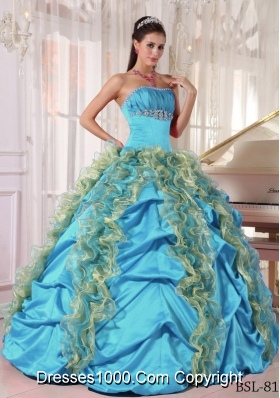 2014 Puffy Strapless Beading and Ruffles Cheap Quinceanera Dresses