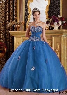 2014 Puffy Sweetheart Appliques Quinceanera Dresses in Teal