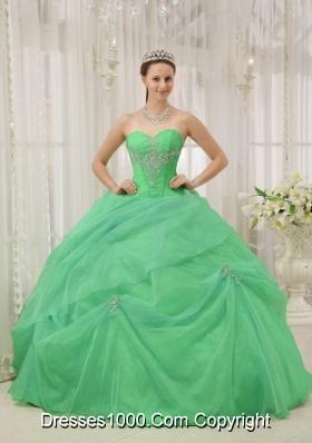 2014 Spring Sweetheart Organza Appliques Quinceaneras Dress