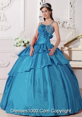 204 Spring Ball Gown Straps Beading Quinceanera Dresses in Teal