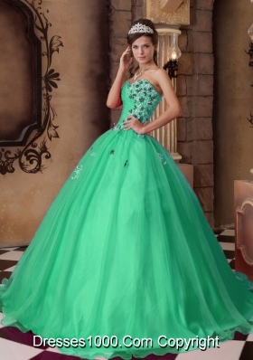 A-line Sweetheart Organza  Turquoise Quinceanera Dress with Beading