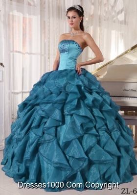 Affordable Beading Strapless Quinceanera Dresses in Teal