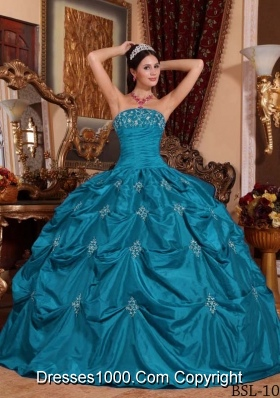 Affordable Strapless Taffeta Teal Appliques Quinceanera Dresses