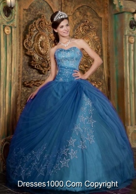 Appliques Ball Gown Sweetheart Teal Quinceanera Dresses for Military Ball