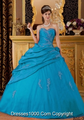 Ball Gown Sweetheart Teal Quinceanera Gowns with Appliques