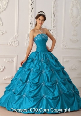 Cheap Princess Strapless Appliques and Beading Long Teal Quinceanera Dresses