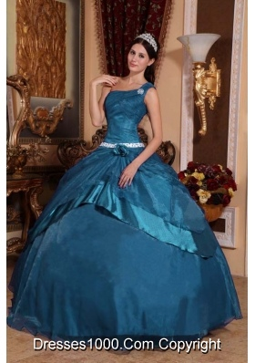 Cheap Teal Ball Gown One Shoulder Organza Beading Long Quinceanera Dresses