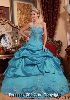 Cheap Teal Puffy Sweetheart Embroidery with Beading Quinceanera Dresses