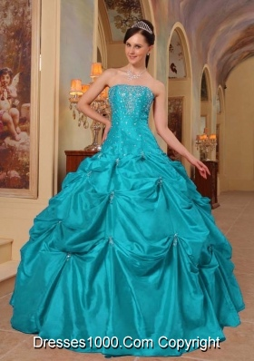 Cute Strapless Beading and Appliques Puffy Quinceanera Gowns