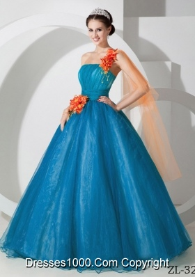 Discount A-line One Shoulder Hand Made Flowers Quinceanera Gowns for 2014