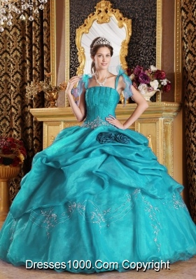 Discount Puffy Spaghetti Straps Appliques Long 2014 Quinceanera Dresses