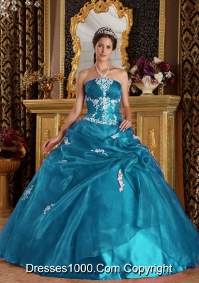 Elegant Puffy Strapless Appliques Quinceanera Dresses for 2014
