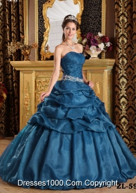 Elegant Strapless Floor-length Appliques Quinceanera Dress with Pick Up