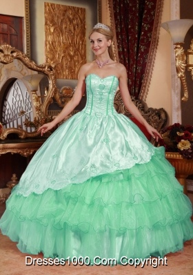 Elegant Sweetheart Quinceanera Dresses with Embroidery and Layers