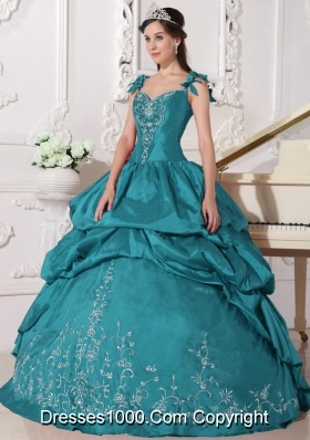 Embroidery Teal Puffy Straps Long Taffeta 2014 Quinceanera Dresses