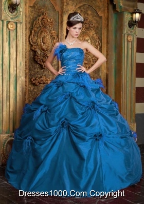Hand Made Flowers Ball Gown Taffeta Teal Quinceanera Dresses with Strapless