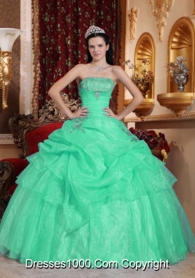 Organza Turquoise Quinceanera Dresses with Beading and Pick-ups
