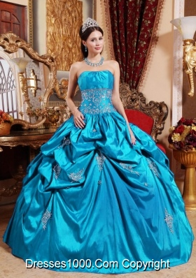 Pretty Strapless Puffy Quinceanera Gowns with Appliques