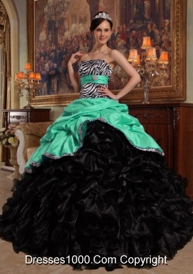 Princess Sweetheart Organza Quinceanera Dresses with Pick-ups and Ruffles
