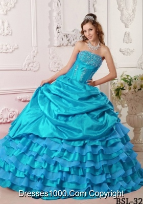 Puffy Beading Long 2014 Quinceanera Dresses with Strapless