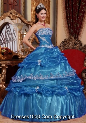 Puffy Strapless Organza  Long Quinceanera Dresses with Appliques