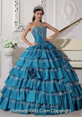 Puffy Sweetheart Taffeta Embroidery and New Style Quinceanera Dresses