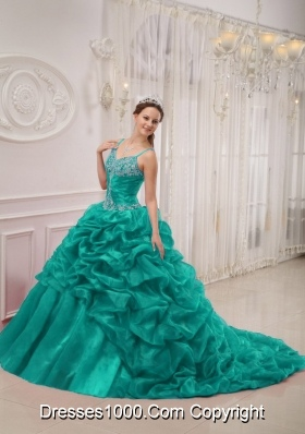 Spaghetti Straps Court Train Organza Turquoise Quinceanera Dresses with Beading and Pick-ups