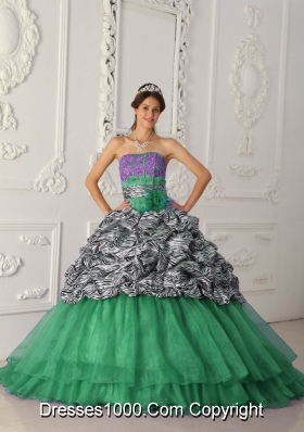 Strapless Chapel Train Zebra Turquoise Quinceanera Gowns with Pick-ups