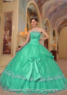 Strapless Organza Sweet 15 Dresses with Bowknot and Appliques