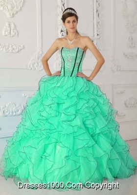 Strapless Organza Turquoise Quinceanera Gowns with Appliques and Ruffles