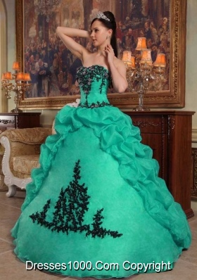 Strapless Turquoise Quinceanera Dress with Black Appliques and Pick-ups