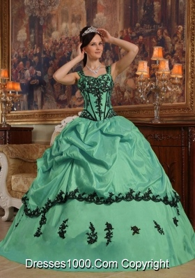 Straps Turquoise Quinceanera Gowns Dresses with Black Appliques