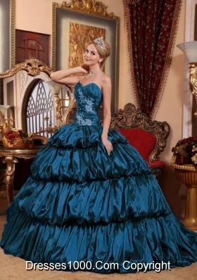 Sweetheart Chapel Train Taffeta Quincenera Dresses with Appliques and Pick-ups