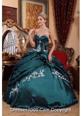 Sweetheart Taffeta Turquoise Quinceanera Gowns with Appliques and Pick-ups