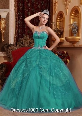 Sweetheart Tulle Turquoise Sweet 16 Dresses with Beading and Appliques