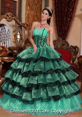 Sweetheart Turquoise and Black Quinceanera Dresses with Layers