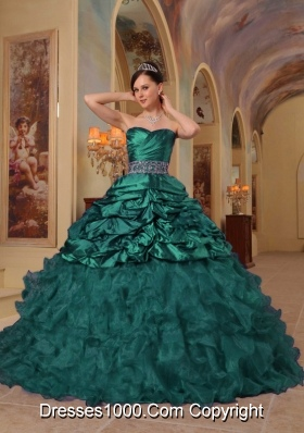 Sweetheart Turquoise Quinceanera Dresses with Beading and Ruffles