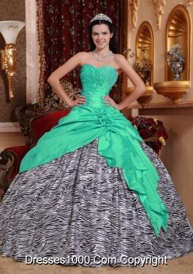 Sweetheart Zebra Turquoise Quinceanera Dresses with Beading