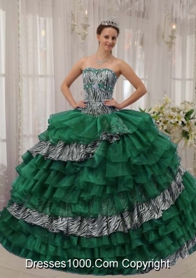 Sweetheart Zebra Turquoise Quinceanera Dresses with Layers