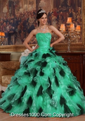 Turquoise and Black Strapless Organza Quinceanera Dresses with Ruffles