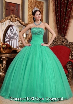 Turquoise Ball Gown Strapless Sweet 16 Dresses with Beading