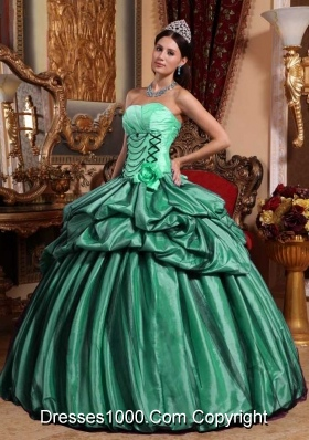 Turquoise Ball Gown Strapless Sweet Sixteen Dresses with Pick-ups