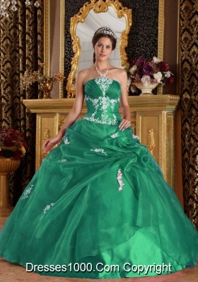 Turquoise Quinceanera Gown Dress with Appliques and Pick-ups