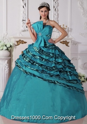 Turquoise Quinceanera Gowns with Beading Ball Gown Strapless Zebra