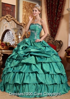 Turquoise Quincianera Dresses with Appliques and Pick-ups Strapless