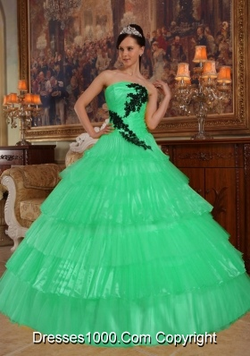 Turquoise Strapless Organza Quinceanera Dresses with Appliques and Layers