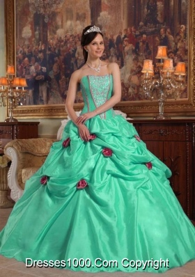 Turquoise Strapless Quinceanera Dresses with Taffeta Beading and Flowers