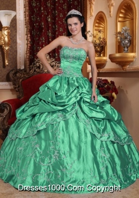 Turquoise Strapless Taffeta Embroidery with Beading Quinceanera Dresses