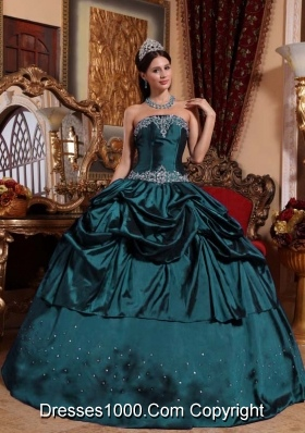 Turquoise Strapless Taffeta Sweet 16 Dresses with Beading and Pick-ups
