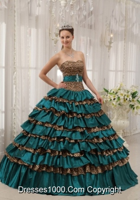 Turquoise Sweetheart Leopard Quinceanera Gowns Dress with Layers